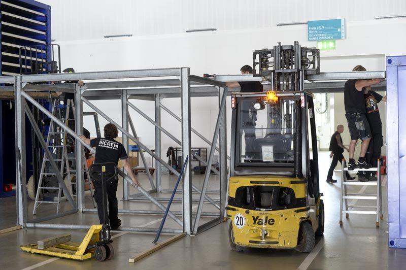 Umbau der Messehalle. Foto: Dehli-News.de / Frank Dehlis